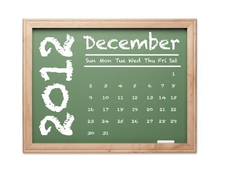 Month of December 2012 Calendar on Green Chalkboard Over White Background. photo