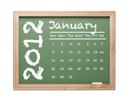 Month of January 2012 Calendar on Green Chalkboard Over White Background. photo