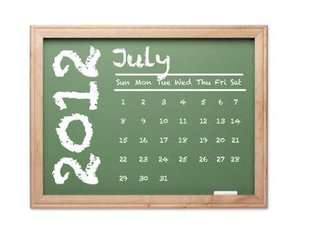 Mes de julio de 2012 Calendario de pizarra verde sobre fondo blanco. Foto de archivo - 10594953