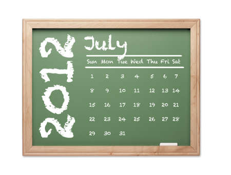 Month of July 2012 Calendar on Green Chalkboard Over White Background. photo