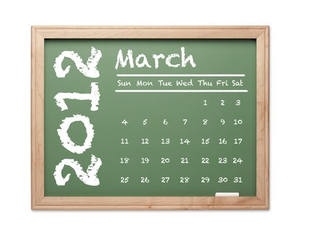 Month of March 2012 Calendar on Green Chalkboard Over White Background. photo