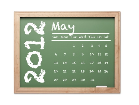 Month of May 2012 Calendar on Green Chalkboard Over White Background. photo