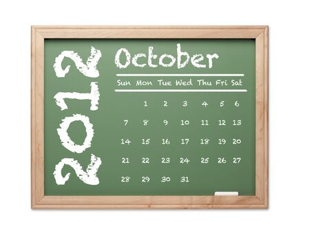 Month of October 2012 Calendar on Green Chalkboard Over White Background.