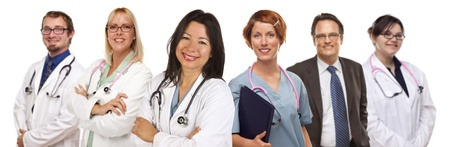 medical team: Group of Doctors or Nurses Isolated on a White Background.
