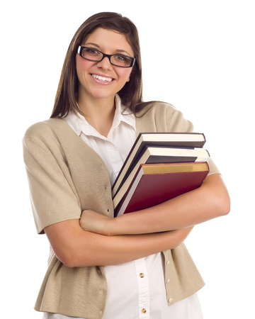 hispanics mexicans: Pretty Smiling Ethnic Female Student Holding Books Portrait Isolated on a White Background.
