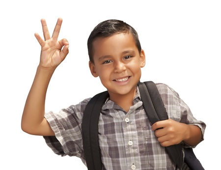 Happy Young Hispanic Boy Giving an Okay Hand Sign with Backpack Ready for School Isolated on a White Background. photo