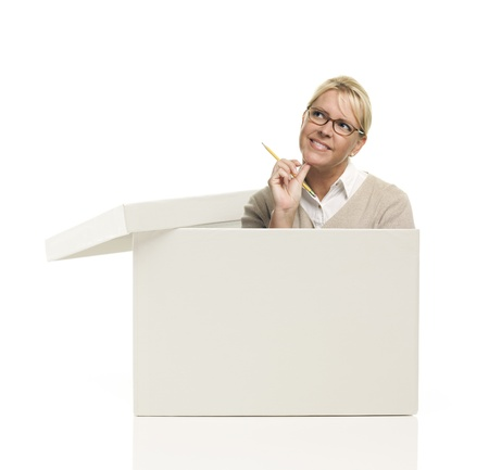 blank box: Attractive Female with Pencil Popping Out and Thinking Outside The Box Isolated on a White Background.