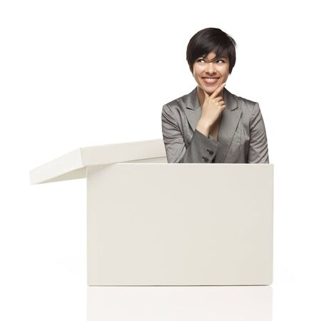 blank box: Attractive Ethnic Female Popping Out and Thinking Outside The Box Isolated on a White Background.