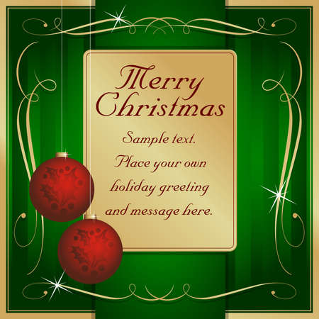 own: Exotic Green, Red and Gold Flourish and Ornament Adorned Christmas Gift Tag or Card Vector Ready for Your Own Text.
