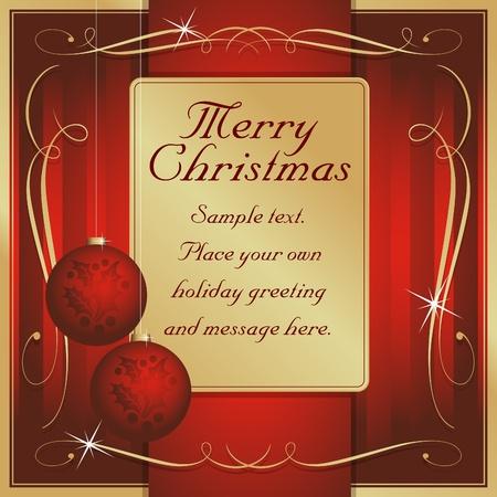 이국적인 레드와 골드 과장된 몸짓과 장식 꾸며진 크리스마스 선물에 자신 만 텍스트에 대 한 태그 또는 카드 벡터 준비.