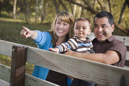 Happy Mixed Race Ethnic Family Having Fun Playing In The Park. Banco de Imagens
