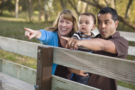 Happy Mixed Race Ethnic Family Having Fun Playing In The Park. photo