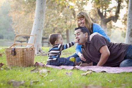 niños latinos: Familia Feliz Joven Raza étnica mixta con un picnic en el parque. Foto de archivo