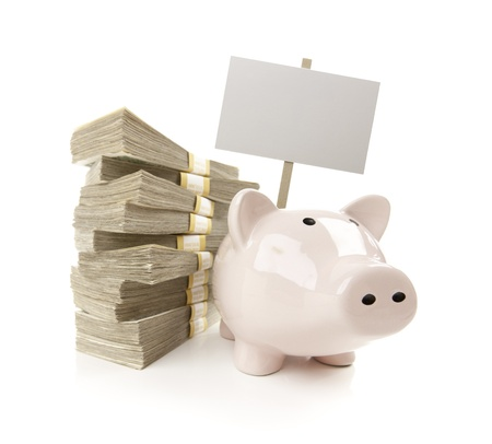 mucho dinero: Pink Piggy Banco con las pilas de cientos de d�lares y carteles en blanco aislado en un fondo blanco.
