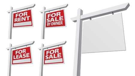 illustration for advertising: Set of Various Right Facing Vector Real Estate Signs - Blank, For Sale By Owner, For Sale, For Rent and For Lease.