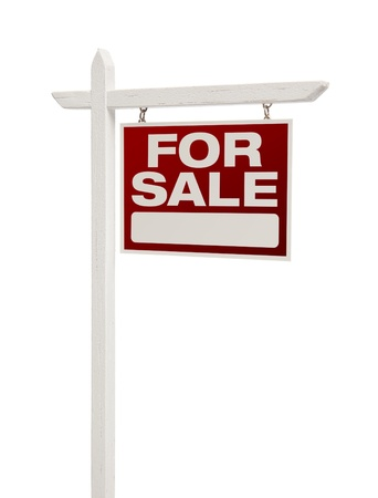 facing right: For Sale Real Estate Sign Isolated on a White Background - Facing Right.
