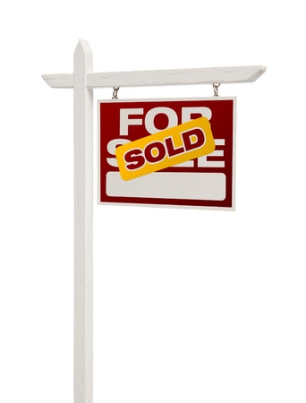 facing right: Sold For Sale Real Estate Sign Isolated on a White Background - Facing Right.