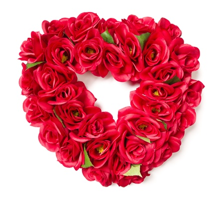 dozens: Heart Shaped Red Rose Arrangement on a White Background.
