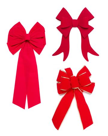 Set of Three Red Bows and Ribbons on White Background. photo