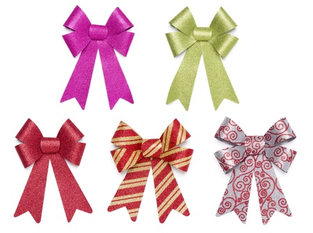 Set of Five Multicolored Glitter Bows and Ribbons on White Background. Zdjęcie Seryjne