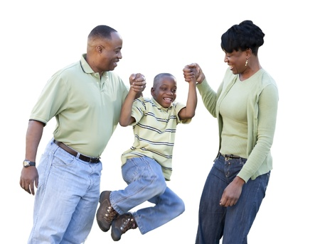 two generation family: Playful African American Man, Woman and Child Isolated on a White Background.
