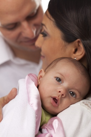newborn baby mother: Happy Young Attractive Mixed Race Family with Newborn Baby.