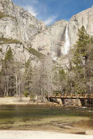 merced: Upper Falls and Merced River at Yosemite on a Spring Day.