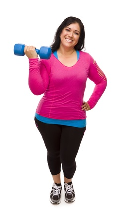 Attractive Middle Aged Hispanic Woman In Workout Clothes Lifting Dumbbell Against a White Background. photo