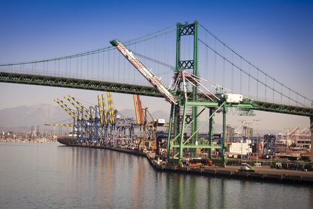 Busy San Pedro Ship Yard and Bridge.