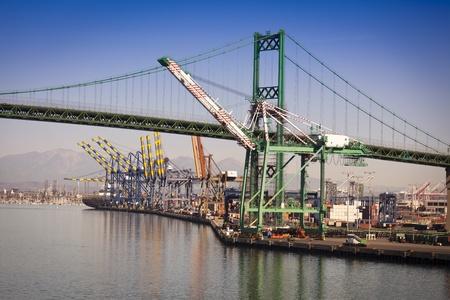 california beach: Busy San Pedro Ship Yard and Bridge.