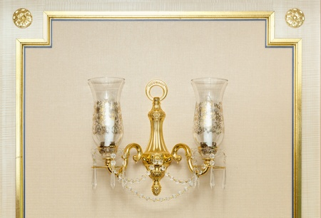 sconce: Luxurious Ornate Gold Wall Chandelier Abstract.