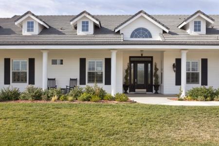 suburban: Beautiful Modern House Facade Against a Blue Sky.