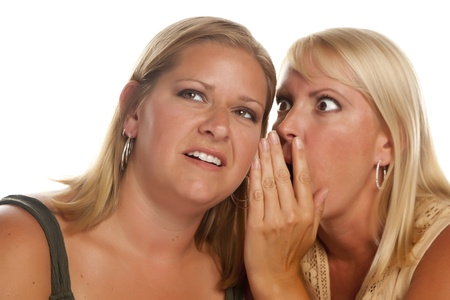 Two Blonde Woman Whispering Secrets Isolated on a White Background. photo