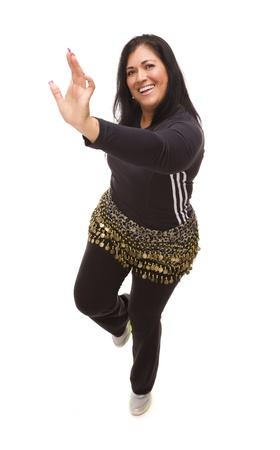 Attractive Hispanic Woman Dancing Zumba on a White Background