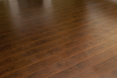 Beautiful Newly Installed Brown Laminate Flooring in Home. photo