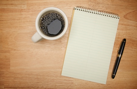 Blank Pad of Paper ready for your own text, Pen, Coffee photo