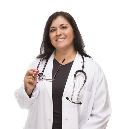 experienced: Attractive Female Hispanic Doctor or Nurse Isolated on a White Background.