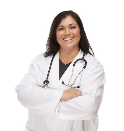 Attractive Female Hispanic Doctor or Nurse Isolated on a White Background. Фото со стока - 14329734