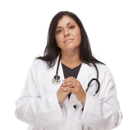 anxious face: Concerned Female Hispanic Doctor or Nurse Isolated on a White Background.