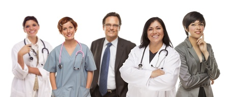 Small Groud of Medical and Business People Isolated on a White Background. photo