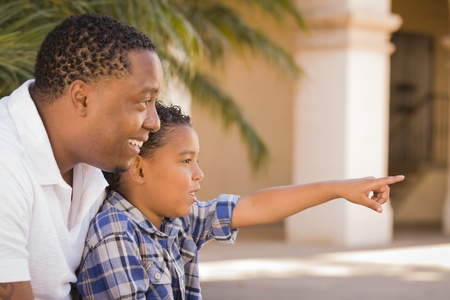 kinship: Happy African American Father and Mixed Race Son Pointing in the Park.
