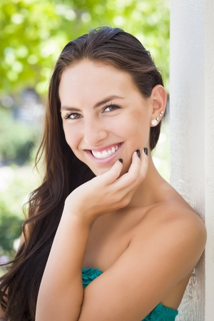 mexican girl: Attractive Mixed Race Girl Portrait Outdoors. Stock Photo