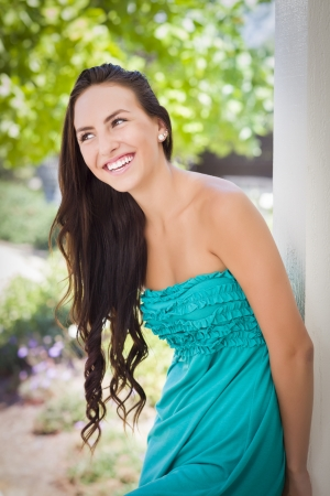 Attractive Mixed Race Girl Portrait Outdoors. Stock Photo - 14785193