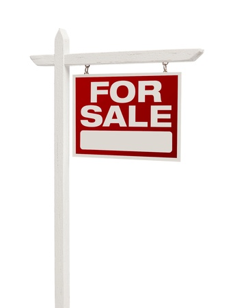 for sale sign: Red For Sale Real Estate Sign on White  Stock Photo