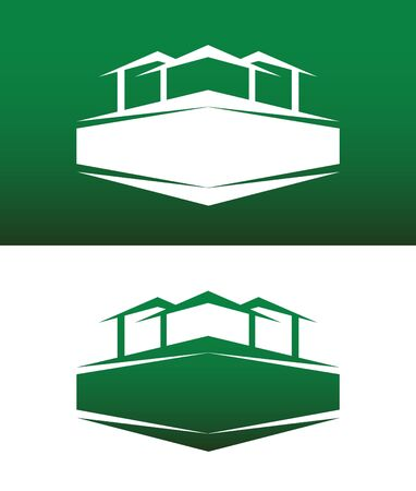 green roof: Abstract House Icon with Banner Vector on Both Solid and Reversed Background. Illustration