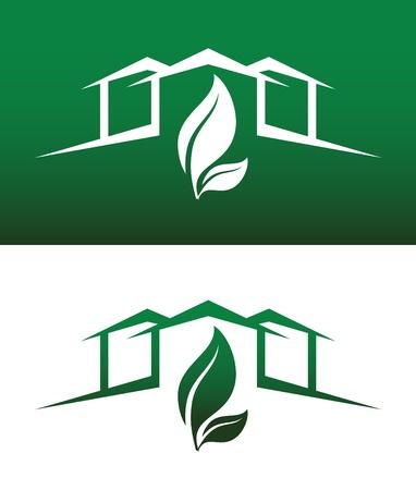 緑の家コンセプト アイコン両方の固体とエコロジー、リサイクル、会社、逆サービスまたは製品。  イラスト・ベクター素材
