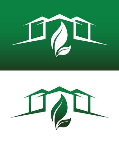 environmentally: Green House Concept Icons Both Solid and Reversed for Ecology, Recycling, Company, Service or Product. Illustration