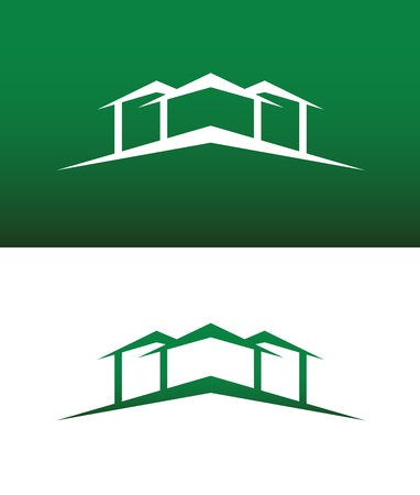 real estate house: Abstract House Icon. Both Solid and Reversed Background.