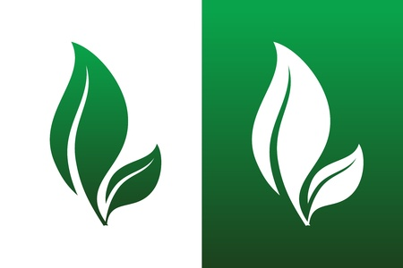green leaf: Leaf Pair Icon Illustrations. Both Solid and Reversed Background.