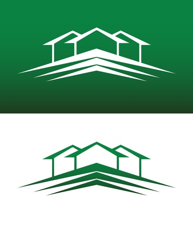 green roof: Abstract House Icon. Both Solid and Reversed Background.